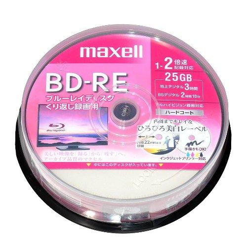 【お取り寄せ商品】maxell 録画用 BD-RE 25GB 1-2倍速対応 CPRM対応 25枚 スピンドルケース ハードコート ホワイトワイドプリンタブル インクジェットプリンター対応 BEV25WPE.25SP