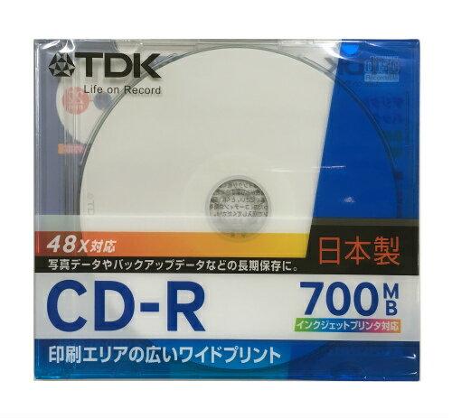 TDK データ用CD-R 700MB 48倍速 1枚 5mmスリムケース ホワイトワイドプリンタブル インクジェットプリンタ対応 CD-R80PWD-CS