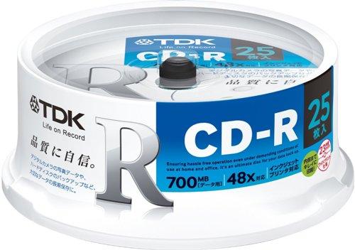 TDK データ用CD-R 700MB 48倍速対応 25枚 スピンドルケース入り ホワイトワイドプリンタブル インクジェットプリンタ対応 CD-R80PWDX25PE