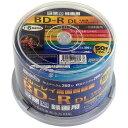 HIDISC 一回録画用BD-R DL 1-6倍速対応 50GB 50枚 スピンドルケース ホワイトワイドプリンタブル インクジェットプリ…