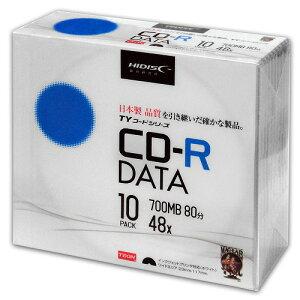 <TY技術を引き継いだ国産同等品質>【TYコードシリーズ】HIDISC CD-R データ用 48倍速 700MB ホワイトワイドプリンタブル 5mmスリムケース 10枚 TYCR80YP10SC