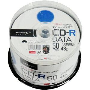 <TY技術を引き継いだ国産同等品質>【TYコードシリーズ】HIDISC CD-R データ用 48倍速 700MB ホワイトワイドプリンタブル スピンドルケース 50枚 TYCR80YP50SP