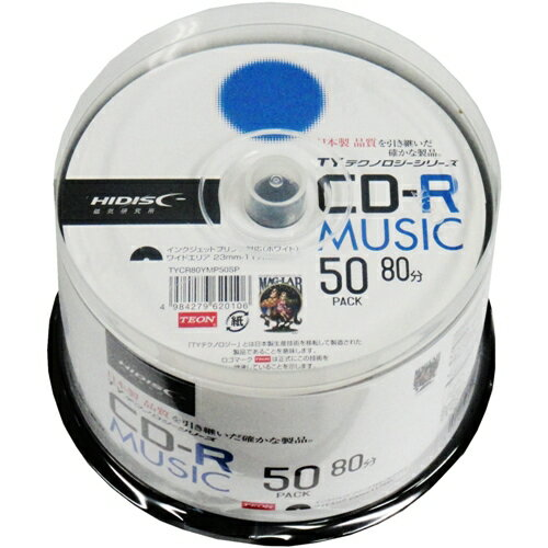 <TY技術を引き継いだ国産同等品質>【TYテクノロジーシリーズ】HIDISC CD-R 音楽用 48倍速 80分 ホワイトワイドプリンタブル スピンドルケース 50枚 TYCR80YMP50SP