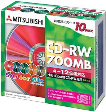 【売り切れ御免】 三菱化学メディア CD-RW データ用 700MB 4-12倍速対応 10枚 カラーミックス 5mmスリムケース入り HighSpeedCD-RW専用 SW80EM10