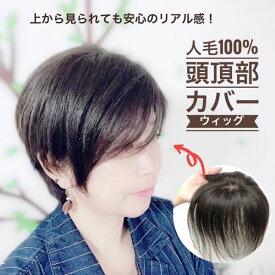 人毛100%頭頂部カバーウィッグ【円形15】☆ショートヘアー用 レミーヘア つむじあり 総手植え