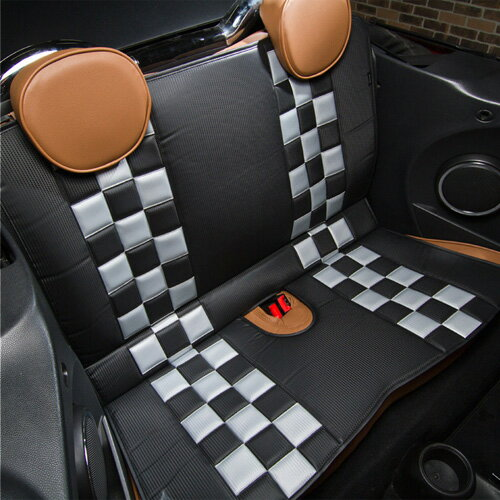 FIAT500/ABARTH(フィアット/アバルト)L字シート【カーボン】(チェッカーカーボンブラック×カーボングレー)【CABANA】