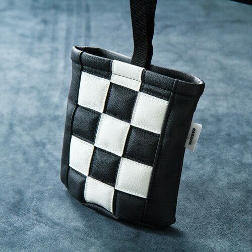 FIAT(フィアット) 500チェッカー小物ホルダー(ホワイト×ブラック)【CABANA】