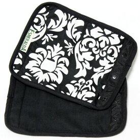 正規品 [メール便対応] ESMERALDA(エスメラルダ) オーガニックコットン・サッキングパッド ブラックダマスク(同柄2枚セット) よだれパッド よだれカバー エルゴ対応 ベルトカバー サッキングパッド