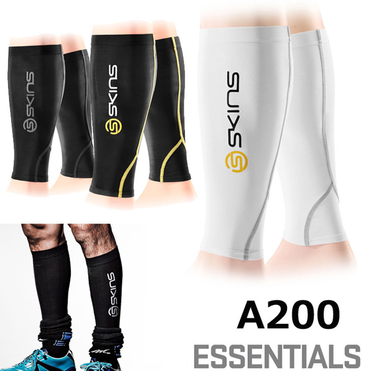 SKINS スキンズ A200 ESSENTIALS メンズ カーフ コンプレッション インナー[Japan fit]「メール便 可」