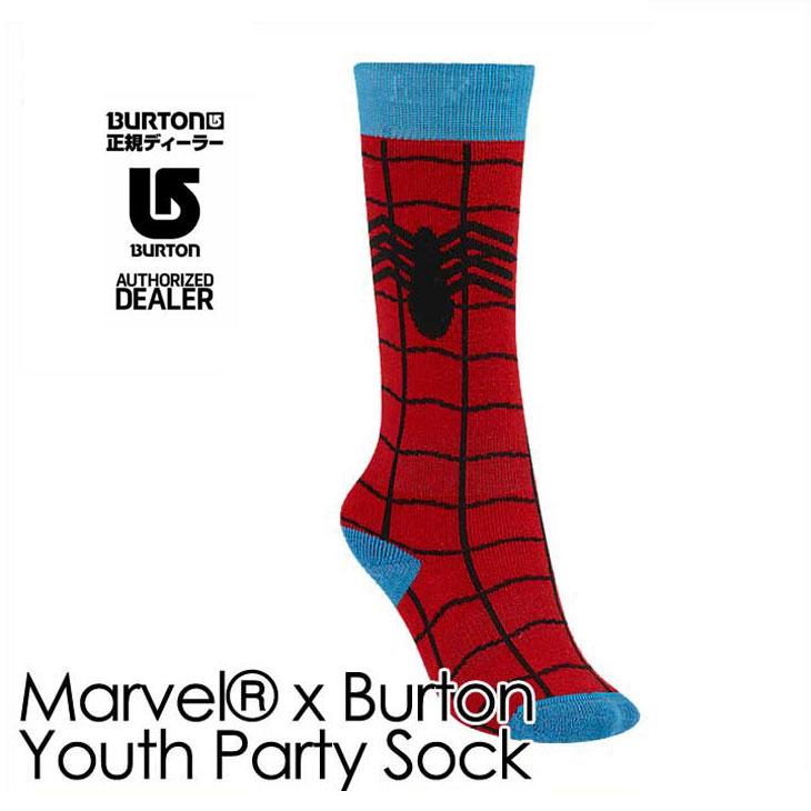 16-17 BURTON バートン KIDS スノー ソックス 靴下 Marvel x Burtonコラボ 【Youth Party Sock 】キッズ 【7-15才】小中学生向け 「メール便可」日本正規品 【返品種別SALE】