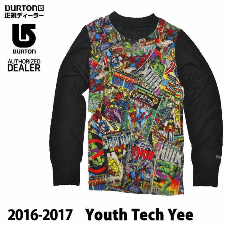 16-17 BURTON バートン スノー インナー キッズ ユース Marvel コラボ 【Youth Tech Tee 】KIDS SNOW 子供 【5-18才】小中学生向け ロング Tシャツ ティーシャツ 日本正規品