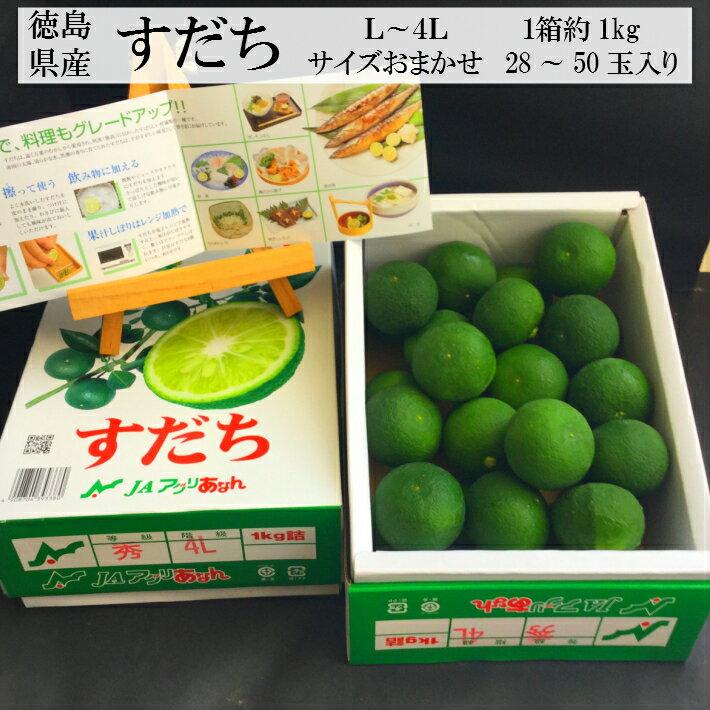 """徳島県産""""すだち""""1箱約1kg""""28〜50玉入りL〜4Lサイズ"""