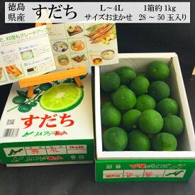 すだち 徳島県産 1箱 約1kg 28〜50玉入り L〜4Lサイズ