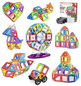 送料無料 Jasonwell 108pcs マグネットブロック 磁気おもちゃ マグネットおもちゃ 磁石ブロック 子供 知育玩具 立体パズル ゲーム 積み木 ブロック