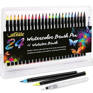 送料無料 VACNITE 水彩毛筆 カラー筆ペン 24色セット 水性筆ペン 水彩ペン 絵描き 塗り絵 アートマーカー 美術用 事務用 画材 子供用画材 収納ケース付き