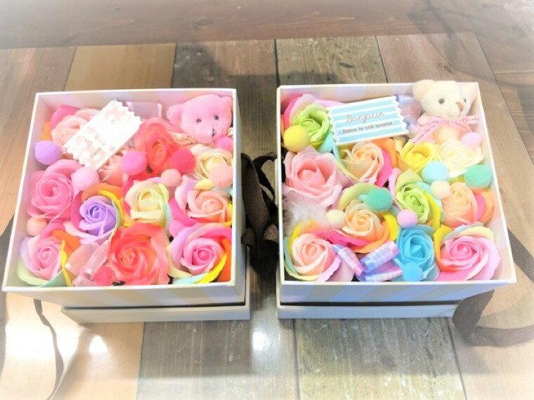 【あす楽】【クーポン】レインボー♪くまさん入り☆パステルカラー☆送料無料 石鹸 フラワーギフト シャボンフラワー 石鹸フラワー 枯れない花 造花 かわいい 人気 オススメ ソープフラワー