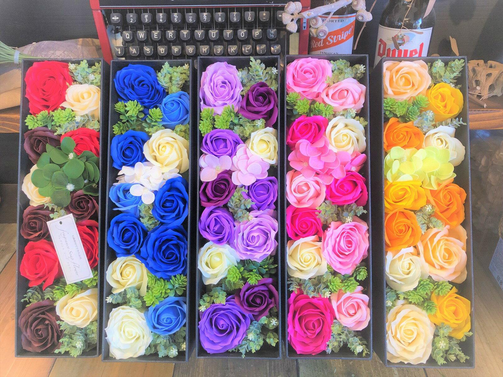 【あす楽】【クーポン】NEWスリムフラワーMボックス♪ 送料無料  シャボンフラワー 石鹸フラワー 枯れない花 造花 かわいい 人気 オススメ ソープフラワー