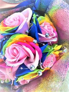 【あす楽対応】【クーポン】/クレア/レインボーローズ/石けん ソープフラワー 枯れない花 プレゼント 造花 ギフトカード 母の日 シャボンフラワー