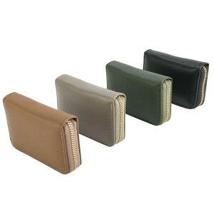 ラウンドファスナー カードケース シンプル 無地 スクエア型 蛇腹式 大容量 カード11枚収納(メンズ レディース)落ち着いた色合いで性別や年代を選ばないデザイン