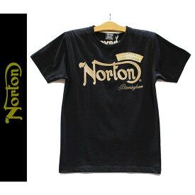 Norton(ノートン)ノートンロゴ&ウィング 刺繍 ワッペン 吸水速乾 天竺 半袖Tシャツ ブラツク 72N1006-09