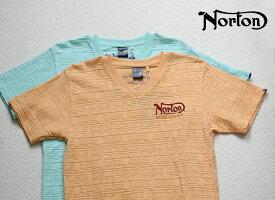 Norton(ノートン)半袖 ユニオンジャック ラメ刺繍 Vネック Tシャツ 42N1001