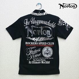 Norton(ノートン)ミリタリー 半袖 ブラック ポロシャツ 62N1900