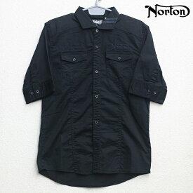 Norton(ノートン) 変形 カラー ライン 使い ツイル シャツ ブラック 62N1509