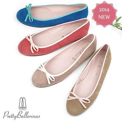 【S】Pretty Ballerinas プリティバレリーナMarilyn スエード バレエシューズ パンプス グログランリボン41186-9000 Suede grosgrainribbon〔SK〕【コンビニ受取対応商品】
