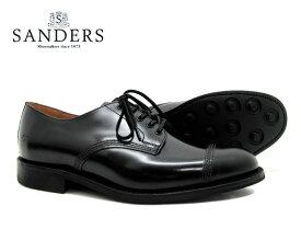 SANDERS サンダース Military Derby Shoe ミリタリー ダービー シュー 1128B ブラック メンズ ストレートチップ キャップトゥ ビジネスシューズ〔FL〕【あす楽】【楽ギフ_包装】