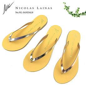 NICOLAS LAINAS ニコラスライナス レザートングサンダル #08 〔SK〕【楽ギフ_包装】