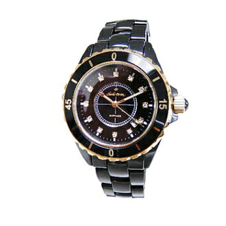 Charles Perrin CharlesPerrin watch CP004G Black ceramic black dial rhinestone grain index quartz mens
