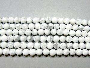 天然石6.5mm half-a0630 ハウライト 半連 約18-20cm (石・天然石・パワーストーン)