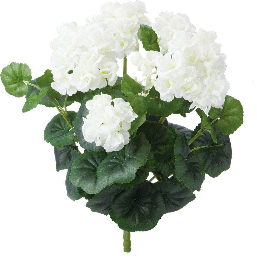 アートフラワー ゼラニウムブッシュ ホワイト @1190x4コセット GL -5206 W 《2018ds》 | 造花 グリーン 観葉植物 ディスプレイ お手入れ不要 お手軽 アレンジ ブッシュ 花材 アレンジメント 花資材 ゼラニウム
