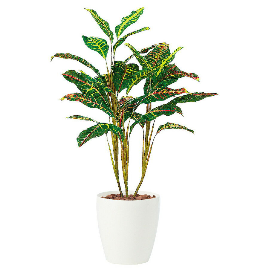 【人工観葉植物】オウカンクロトン 100 (器:RP-225) 91448 |フェイクグリーン イミテーション インテリア オフィス 店舗 造花 観葉植物 ミニ 観葉植物 おしゃれ 観葉植物 インテリア 《2018ds》
