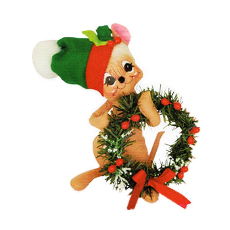 雑貨 Annalee Dolls アナリードール 8 Holly Berry Wreath Mouse 600515 《2018sono》 | 輸入 おしゃれ かわいい プレゼント グッズ ホビー ポップ おもしろ