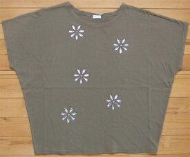 MINELAL ミネラル nappalm 花ビジューカットソー カーキブラウン プルオーバー Tシャツ クルーネック 103027389
