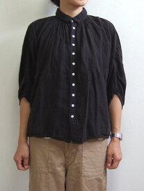 Brocante ブロカント ドミンゴ 38-042L 19-2 グランシャツ ブラック リネンキャンバス 麻 ドルマン ギャザー 5分袖 送料無料 MadeinJAPAN 日本製