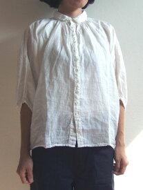 Brocante ブロカント ドミンゴ 38-042L 31 グランシャツ オフホワイト リネンキャンバス 麻 ドルマン ギャザー 5分袖 送料無料 MadeinJAPAN 日本製