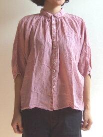 Brocante ブロカント ドミンゴ 38-042L 62 グランシャツ ライトピンク リネンキャンバス 麻 ドルマン ギャザー 5分袖 送料無料 MadeinJAPAN 日本製