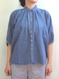 Brocante ブロカント ドミンゴ 36-078E 23-9 グランシャツ ブライトブルー 6ozデニム USED加工 綿 ドルマン ギャザー 5分袖 MadeinJAPAN 日本製