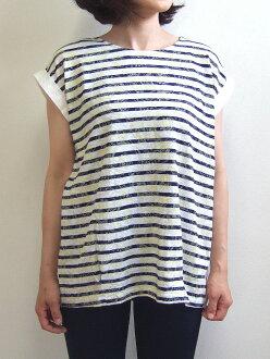 Quand クアンド nappalm nap palm horizontal stripe X paisley pullover navy white shirt cut-and-sew different fabrics 204025496
