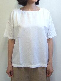 Brocante ブロカント ドミンゴ 36-112T 31-8 バトーシャツ オフホワイト ブラウス ツイル 綿 コットン キュプラ リネン 麻 MadeinJAPAN 日本製 倉敷 児島