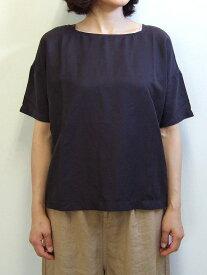 Brocante ブロカント ドミンゴ 36-112T 18-8 バトーシャツ チャコールグレー ブラウス ツイル 綿 コットン キュプラ リネン 麻 MadeinJAPAN 日本製 倉敷 児島