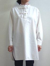 D.M.G ドミンゴ DMG 16-530T 31-1 スリーピングシャツ スタンドカラーシャツ タッサー ワンピース ホワイト 倉敷 児島 日本製 MadeinJAPAN