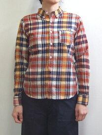 D.M.G ドミンゴ DMG 16-387X 37-8 チェックシャツ ボタンダウンシャツ ブラウン MadeinJAPAN 倉敷 児島 日本製
