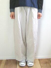 Brocante ブロカント ドミンゴ 33-208X 32-1 ラルジュパンツ アイボリー リネンコットンキャンバス タックパンツ ワイドパンツ large pants MadeinJAPAN 日本製