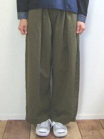 Brocante ブロカント ドミンゴ 33-208X 48-5 ラルジュパンツ オリーブグリーン リネンコットンキャンバス タックパンツ ワイドパンツ large pants MadeinJAPAN 日本製
