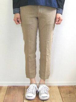 D.M.G MadeinJAPAN made in Domingo DMG 13-918L 36-5 ankle slim trouser underwear Mocha brown linen stretch hemp ankle cut tapered Kojima, Kurashiki Japan