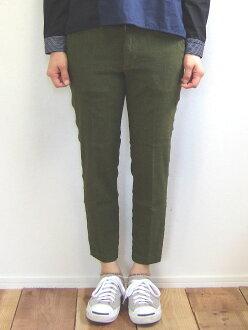 D.M.G MadeinJAPAN made in Domingo DMG 13-918L 47-7 ankle slim trouser underwear dull green linen stretch hemp ankle cut tapered Kojima, Kurashiki Japan