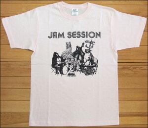 メール便 gym master ジムマスター JAM SESSION Tee Tシャツ ライトピンク アニマル カットソー 半袖 G279651